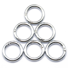 6pcs Silver Plated Alloy Round Carabiner Spring Snap Hooks Clip Camping 25mm(China)