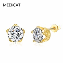 MEEKCAT Exquisite Cute 9MM Round Cubic Zirconia Crown Stud Earrings For Women Gold Color Ear Jewelry Wholesale Price Top Quality