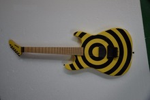 121 music store factory custom Kramer banana headstock yellow&black circle color body electric guitars free shipping