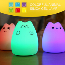 Cartoon Cat LED Night Light Lamp Lovely Silica Gel Luminaria Touch Nightlight For Baby Children Gift Decoration(China)