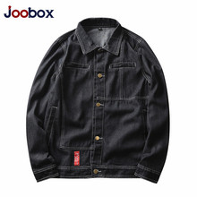 JOOBOX 2018 New Spring autumn Mens Denim Jacket Coat Single Breasted Loose Fit Light Blue Big Men Plus Size XL 2XL 3XL(China)