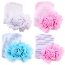 Puseky Baby Flower Hat Newborn Girl Cotton Beanie Cap Peony Flower Infant Spring Hat Children Accessories 0-6M(China)