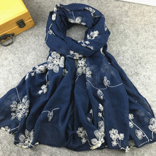 Ethnic Style Embroidered Cotton Scarves and Shawls for Women Fashion Design Muslim Hijab Bandana and Pashmina for Ladies(China)