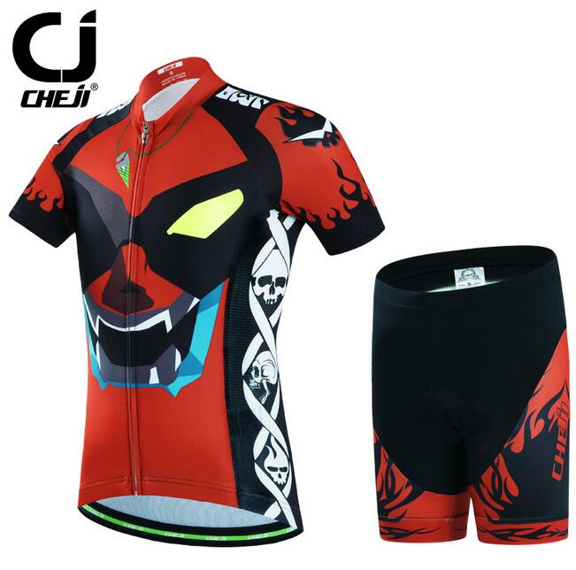 CHEJI Children Bike Clothing Kit Kids Youth Cycling Jersey + Padded Shorts Set<br>