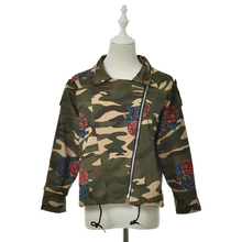 1PCS New Women Jackets Autumn Winter Army Green Camouflage Floral Printed Zipper Jeans Coats For Woman(China)