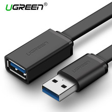 Ugreen Extension Cable USB 3.0 Cable Flat Male to Female Data Cable USB 2.0 Extender Cord for Computer USB Extension Cable(China)