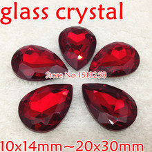 LIGHT SIAM Red Color Pear Shape Fancy Stone Water Drop Glass Crystal Stones 10x14mm,13x18mm,18x25mm,20x30mm