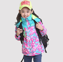 New Girl's Jacket Spring Autumn Floral Girls Sports Jackets Windproof Children's Jackets Outdoor Skiing Outerwear