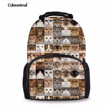 Coloranimal Puzzle Cat Dog Head Patten School Backpack for Boys 3D Animal Printed Portable Shoulder Bookbags Customized Bagpacks(China)