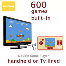 Pocket Classic Children Game Console Portable Handheld Video Game Double Player Built-in 600 Games For TV Game Hot Sale(China)