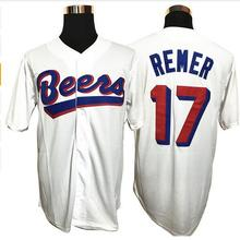 SexeMara Cheap Throwback Baseball Jerseys DOUG REMER #17 Baseball Milwaukee Beers MOVIE BUTTON DOWN JERSEY All Stitched(China)