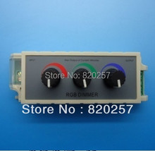 free shipping 3 channels led RGB dimmer controller manual rotary, DC12V-24V 3*3A