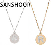 1pcs Hot Sale Letter R initial Word Pendant with CZ Crystal Necklace Set Plus 45cm Stainless Steel Chain for Women Gift