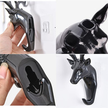 ABQ Deer head Self Adhesive Wall Door Hook Hanger Bag Keys Sticky Holder*30 2017 hot sale