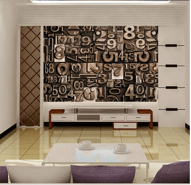 Custom 3D large mural,3 d character retro stereo English letters murals ,living room sofa TV wall  bedroom wall paper<br>