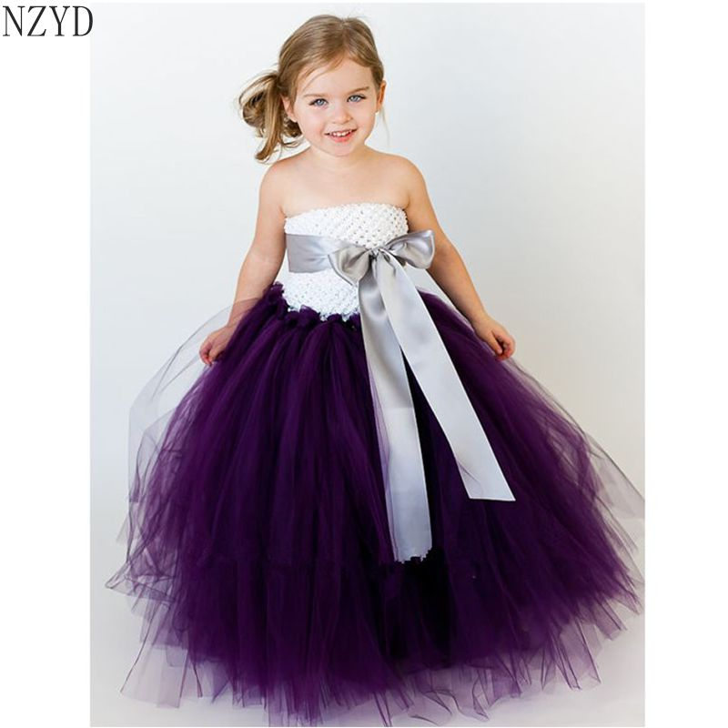 New 2017 Hand Tied Birthday Girl Dress Children Dancing Party Act Out Princess Dress Bridesmaid Wedding Girl Dress Kids Clothing<br>