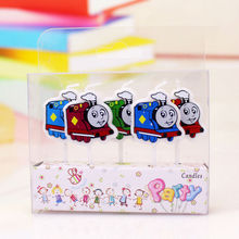 Factory direct animation birthday candles and train Thomas 5 bright colors combination cake candle