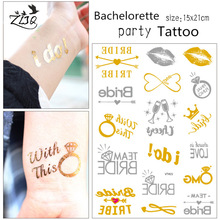 ZLJQ Bride Temporary Tattoo Bachelorette Party Accessories Bridesmaid Bridal Shower Wedding Decoration Party Favor 7D