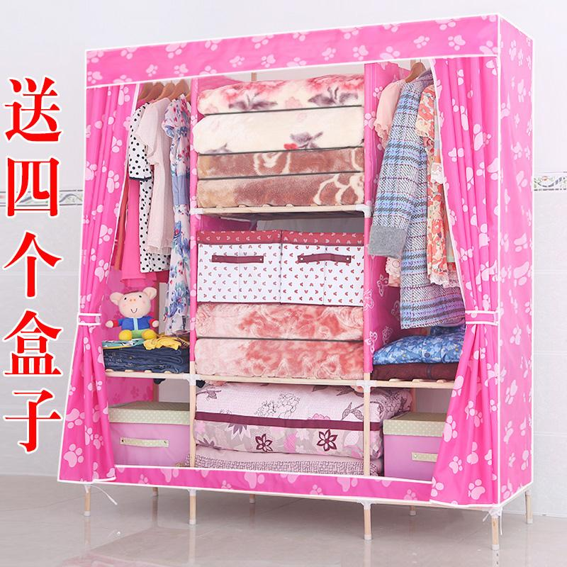 Super Simple Wardrobe Wood Cloth Folding Cabinet Assembly Oxford Cloth  Dormitory Storage Closet(China)