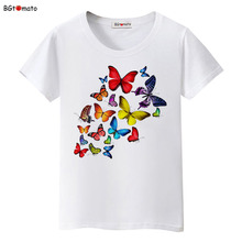 BGtomato Summer colorful butterfly t shirt women lovely clothes tshirt cool top tees Brand t-shirt	Lovers kawaii shirt	plus size