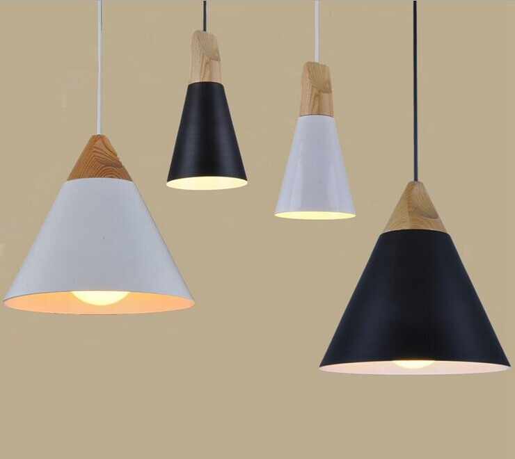 AC110V/220V E27 Home Dining Room Pendant Lamps Modern Colorful Restaurant Coffee Bedroom Pendant Lights Iron Real Wood Material <br>