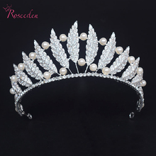 rhinestone leaves with simulated pearl women wedding tiara crown bridal Princess Queen Pageant Prom wedding Hair Ornaments RE638
