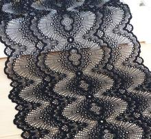 Hot Sale 3 meters 22CM Unique Design Black Elastic Stretch Wide Embroidery Lace Applique Trim Sewing DIY Craft(China)