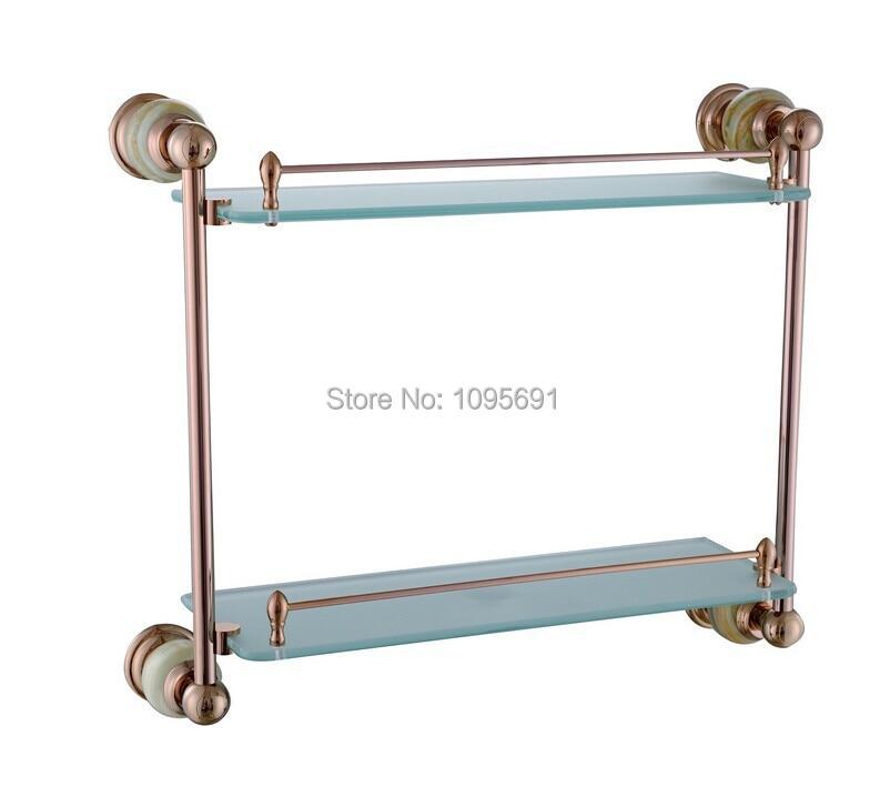 European style, luxurious rose gold  brass + frosted glass+jade dual tier glass shelf  Bathroom shelf<br><br>Aliexpress