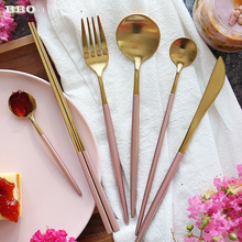 Luxury Pink Golden Dinnerware Set Gold Plated Stainless Steel Cutlery Set Wedding Tableware Set Dining Knife Fork Tablespoon