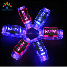 2017 Led Wedding Dress 5 Pcs Happy Glowing Bracelet Wrist Band Led Flashing Light Up Ring Running Gear Christmas Birthday Gift