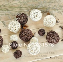 Wedding Rattan Ball Decoration 20pcs/Lot Mix 3cm & 5cm Sepak Takraw Christmas Balls Dried Artificial Flowers Decoration(China)