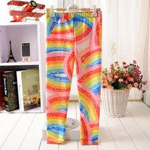 For Teenage Girl Cartoon Rainbow Bridge Print Fitness Pants Casual Exercise Leggings Elastic Fiber Full Length Energy Trousers(China)