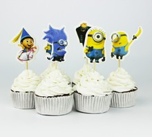 24pcs Event Party Supplies Cartoon Minions Cupcake Toppers Pick Girl Kids Birthday Party Decoration