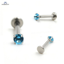 DIY 1pc/lot 1.2x8mm Round Gem Nose Piercing Tragus Lip Piercing AAA Zircon labret Ear Ring Women Men Jewelry Cartilague Pircing(China)