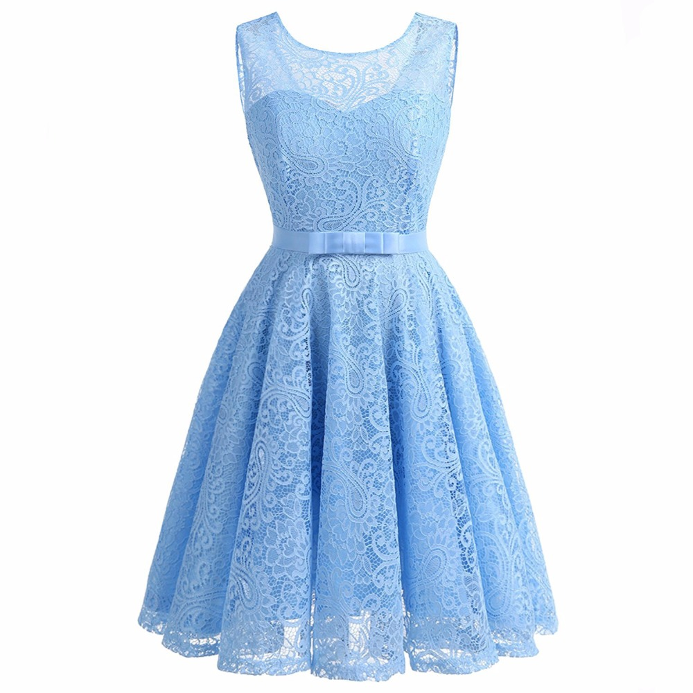 Women's Vintage Sleeveless Belt Floral Lace Wedding Party Dress Cocktail A-Line Dresses Vestido de festa Robe Femme