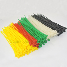 500pcs yellow Red Green White Black 2.5x200mm(8inch) Network Nylon Plastic Cable Wire Zip Tie Cord Strap(China)