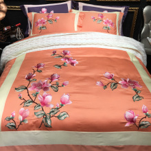 80S Egyptian cotton Luxury embroidery 4pcs duvet cover flat sheet pillowcase set bedding sets high quality orange color(China)