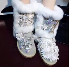Gray Winter Women Shoes Fashion Appliques Ankle Boots Keep Warm Floral Mujer Shoes Flat Snow Boots Butterfly Crystal Shoes