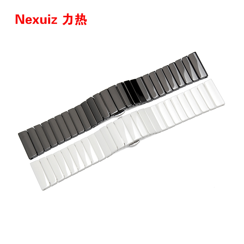 22mm 24mm  High quality Silver Depolyment Watchband Black and White Ceramics Watch Bands Bracelets Common<br><br>Aliexpress