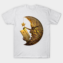 2017 Latest Brand White Clothes Moon Reading A Book And Star Light It Pp Print T Shirt Hipster Beautiful Dream T-Shirt Cool Tops(China)