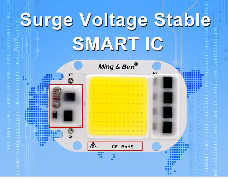 [MingBen] LED COB Lamp Chip 5W W 30W 50W 2V Input Smart IC Driver Fit For DIY LED Floodlight Spotlight Cold White Warm White 2