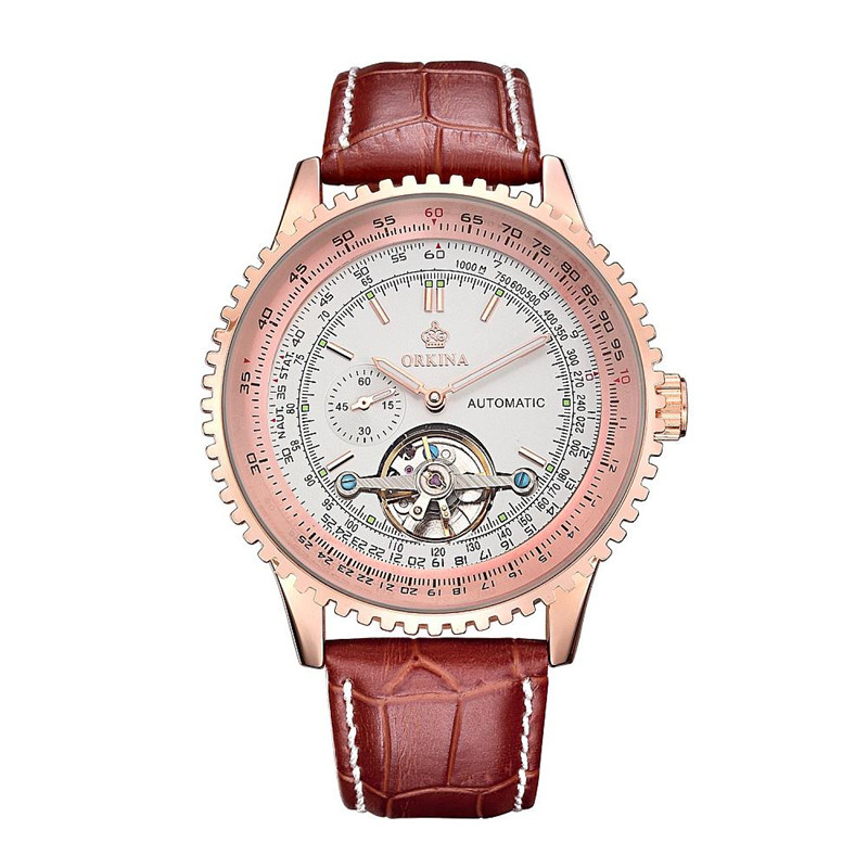 Orkina Men Stainless Steel Leather Wrist Watch Brand Mechanical Watches, 180~222x24mm<br>
