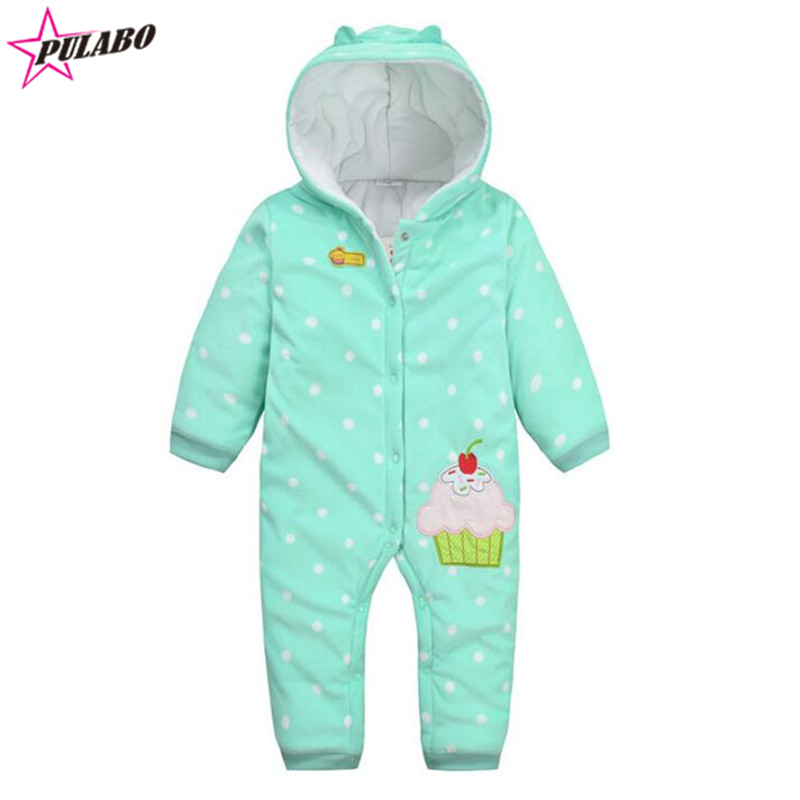 2016 NEW spring fall baby Climbing Clothes baby Boys Girls Warm Romper kids cupcake polka dot print Hooded Outwear<br><br>Aliexpress