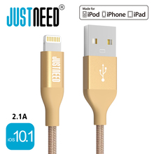 Original MFi Certified Metal Plug Nylon Braided Wire 8 Pin Mobile Phone Cable Usb Data Sync Charger for iPhone 5 6 7 iPad iOS 10