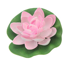 1Pc Beautiful Floating Artificial Lotus Ornament for Aquarium Fish Tank Pond Water lily Lotus Artificial Flowers Decoration