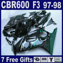 Black Customize ABS motobike fairings for Honda 1998 CBR600 F3 1997 CBR 600 F3 97  98 aftermarket fairing kits+Tank cover