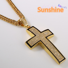 NEW Men's Hip Hop Necklace Nightclub Crystal Hiphop Street Dacing Rhinestone Arc-shaped Cross Necklace 24 Gold Pendant Necklace