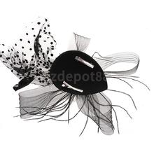 Fashion Women Mini Top Hat Feather Fancy Dress Burlesque Halloween Costume Black