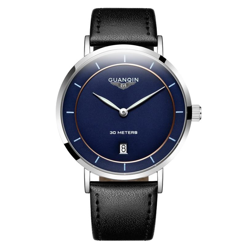 New Simple Watch Top Brand GUANQIN Ultrathin Quartz Watch Men Watches Calendar Luminous 30m Waterproof Fashion Casual full steel<br>