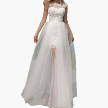 Customize Detachable Train 2017 Sexy White Sheer Long Tulle Skirts Transparent Floor Length Overskirt Bridal Wedding Party Gown(China)